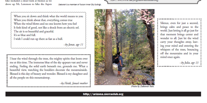 Poems by participants on an Inner City Outings hike with the Trekking Rattlers club.