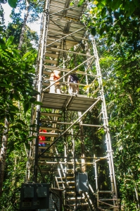One instrument tower has stairs for easy access.