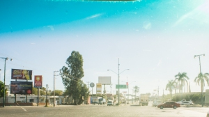 Driving in to Hermosillo for a visit last year, the view through my windshield at a traffic light.